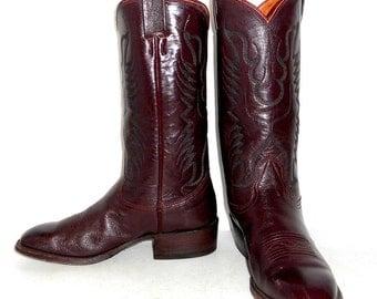 Mens 7.5 D Cowboy Boots Nocona Maroon Burgundy Wine Womens Size 9 Boho Western