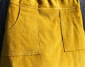 Mustard Yellow Corduroy Skirt, hipster A-Line skirt, Simple A-line, Skirt with Pockets, Custom made in all sizes, and lengths