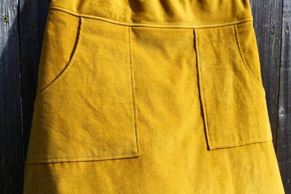 mustard yellow corduroy skirt a line skirt simple