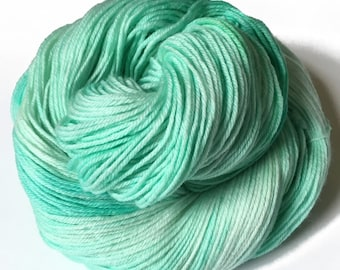 "Sock yarn, cashmere sw merino nylon, hand dyed SNORGLE , ""Beach Glass"", 435 yds."