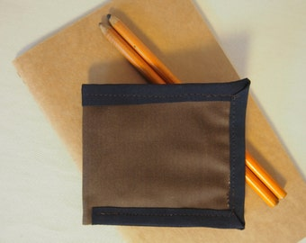 Black and Brown Waxed Cotton Billfold Wallet