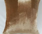 Velvet pillow cover. Ice coffee velvet pillow. Light coffee brown velvet. Peach  velvet  custom made. 24 x24 inches