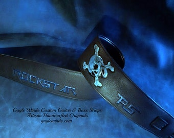 Personalized Custom Leather Guitar Straps / Intricate Artwork / Padded / Leather Lined / Ergonomic Comfort / Custom Colors / Custom Width