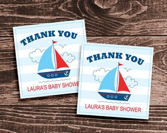 Personalized Sailboat Baby Shower Favor Tags or Stickers – DIY Printable – Baby Boy (Digital File)