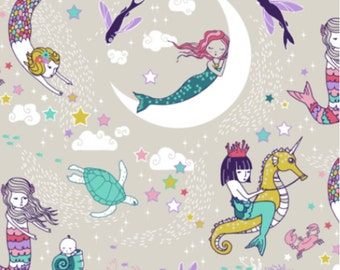 Mermaids Fabric - Mermaid Lullaby Small (Candy) Custom Fabric By Nouveau Bohemian - Mermaids Cotton Fabric by the Yard with Spoonflower