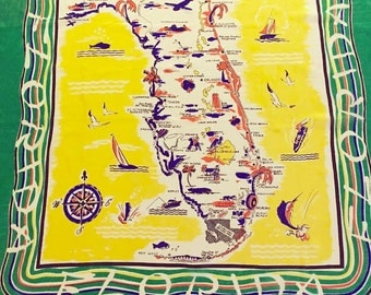 Vintage Florida scarf silk 1950s extra large original tag Floridiana kitsch souvenir