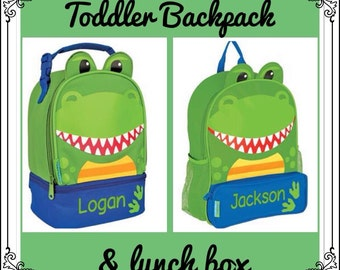 Toddler Backpack and Lunchbox / personalized backpack / personalized lunchbox / STEPHEN JOSEPH backpack / DINOSAUR
