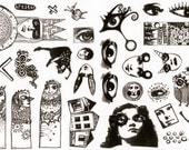 MOUNTED Rubber Stamp Set Z104 - Eyes and Guys