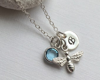 Personalized Bee Necklace in Sterling Silver - Initial and Birthstone Bee Necklace