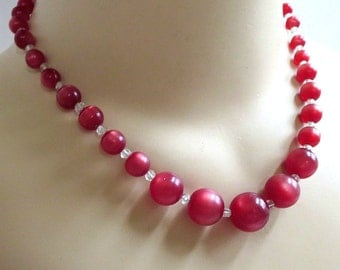 Lucite Cherry Juice Necklace Vintage Moonglow & Faux Crystal Beads