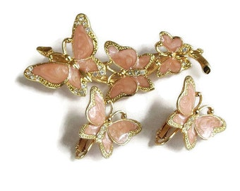 Vintage Butterfly Brooch and Earrings Set Swirl Poured Pink Enamel & Clear Rhinestones