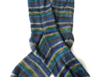 Socks - Hand Knit Men's Striped Socks - Size 10-11 - Casual Socks - Weekend Socks