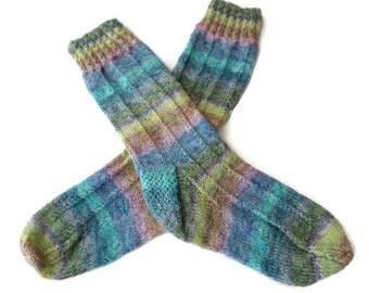 Socks - Hand Knit Women's Multi-Colored Striped Socks - Size 7-9