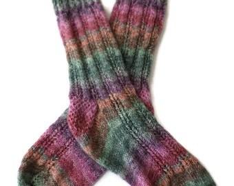 Socks - Hand Knit Women's Multi-Colored Striped Socks - Size 7-8