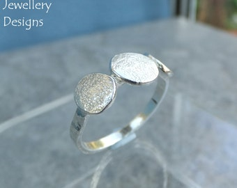 Textured Pebbles Trio Sterling Silver Ring (UK size N / US size 6.75) - Handmade Metalwork Organic Hammered Jewellery - Stepping Stones