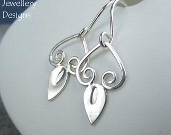 Swirl Drops - Sterling Silver Earrings - Elegant Handmade Metalwork Wirework Hand Stamped Textured Jewelry - Bright Shiny Swinging