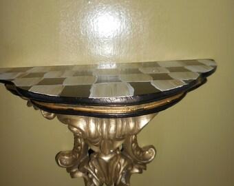 Checkered Custom Hand Painted Ornate shelf
