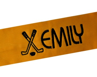 Custom Personalized Embroidered Ice Hockey Stretch Headband by Funny Girl Designs - 2.5 INCH WIDE
