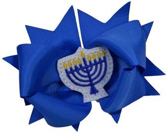 Jewish Holiday Hanukah Girls 4.5 Inch Grosgrain Hair Bow