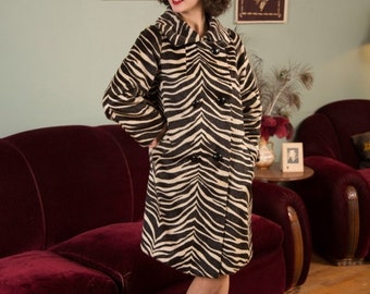 50% OFF SALE - 1960s Vintage Coat - Fabulous High Quality Faux Fur Zebra Print 60s Coat with Double Breasted Buttons