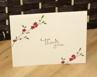 Thank you - Floral Hand Stamped Card