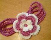 Newborn Headband,  Triple Strand with Big Flower Embellishment.   Custom order also available.
