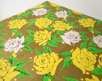 Vintage 1960s Any Occasion Wrapping Paper | Yellow Gold White Pink Gift Wrap Paper with Roses