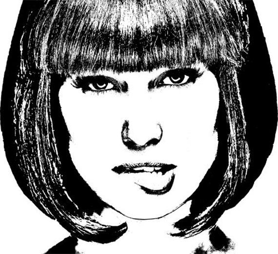 lip biter woman Digital art download printable black and white art image graphics woman portrait bob haircut womans face clipart clip art