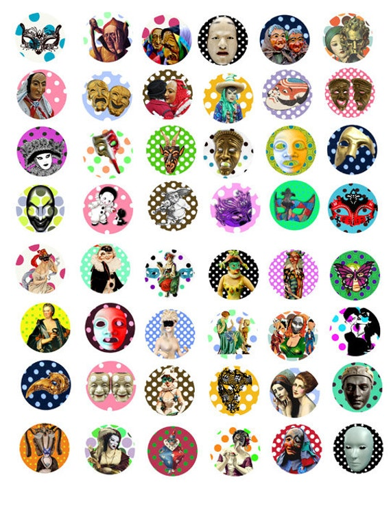 masks clipart mardi gras 1x1 inch circles collage sheet digital download masquerade venetian printable art image graphics for jewelry making