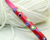 Polymer clay crochet hook, new size I9 or 5.50mm, Susan Bates, handmade design, ready to ship