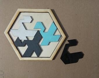 Swan Lake. Wooden brainteaser puzzle