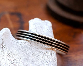 The Lane Splitter - Ridged and Rugged Sterling Silver Cuff for Men - Mens Jewelry - Rustic Silver Bracelet-