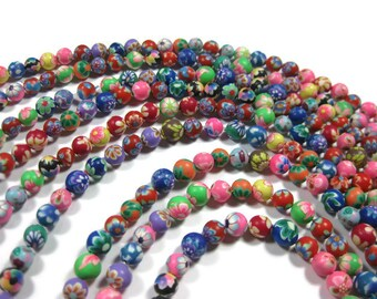 6 mm Round Polymer Clay Beads Assorted Variety 50 pieces