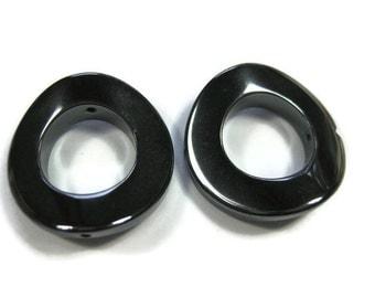 25 mm Non Magnetic Hematite Twist Donut Beads Set of 2