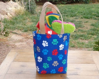Dog Accessory Tote in a Dog Paw Print on Bright Blue