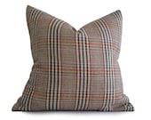 Rustic Plaid  Pillows, Autumn Pillow Covers, Retro Wool Plaid Cushion, Purple Teal Red Cream, Country Cabin Decor, 14x18 lumbar, 18x18