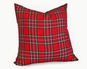 Red Tartan Plaid Pillows, Red Plaid Cushions, Traditional Stewart Tartan, 22, 24, 26, Stuart, Country Cabin Pillow, Decorative Lodge Pillow