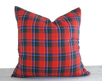 Plaid Christmas Pillows, Red Blue Green Plaid Pillows, Red Tartan Plaid, Christmas Pillow Covers, Rustic Cabin Pillows, 12x16, 12x18, 18x18