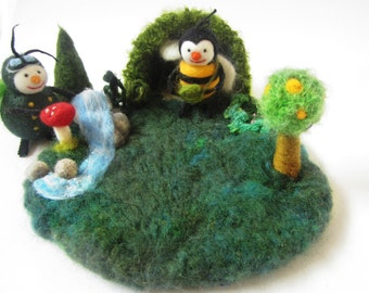 Play Mat,Needle felted Play Mat,Waldorf toy,