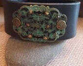 Upcycled Black Leather Cuff with Hand Forge Brass Patina Filgree
