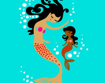 """8X10"""" mermaid mother & daughter giclee print on fine art paper. teal, pink, tan and chocolate skin"""