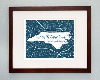 North Carolina State Map Print - 8x10 Wall Art - North Carolina State Nickname - Typography - Housewarming Gift