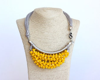 CIMITARRA yellow beaded with parachute cords statement necklace