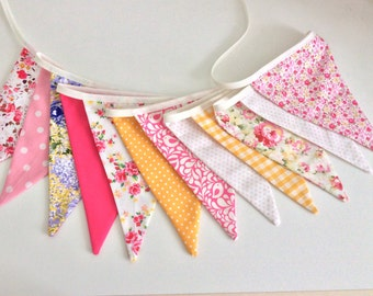 Pink yellow bunting garland in a floral mix 12 flags