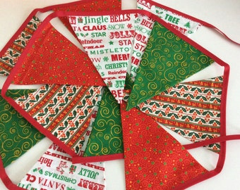 Traditional Christmas Bunting - 12 flag Fabric Garland Banner,