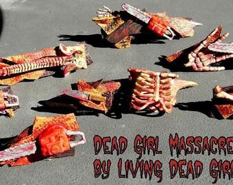 CUSTOM Hair Barrette or Pin: Dead Girl Massacre Decay  - Horror Movie Halloween Bloody Weapon Skeleton Handmade