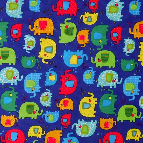 Kid 39 s blue elephant cotton fabric baby blue fabric with for Childrens elephant fabric