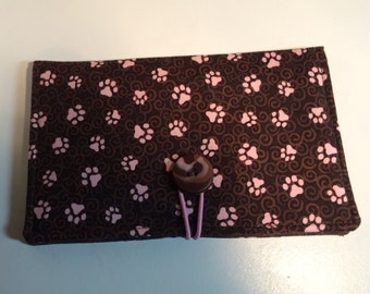 Pink and Chocolate Brown Paw Print Coupon Wallet Case