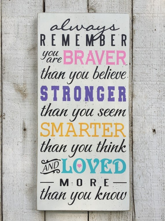 Always Remember You Are Loved: Always Remember You Are Braver Than You Believe Stronger Than