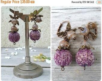 ON SALE Pompoms Handmade beaded earrings on leverbacks